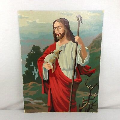 VTG Religious Jesus Good Shepherd Paint By Number COMPLETED Unframed 12x16