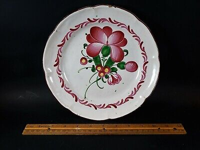Antique French Tin Glazed Faience Plate with Flower Unmarked 18th / 19th Century