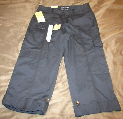 NEW Women's Size 12 Sonoma Cargo Pants Modern Fit Blue Convertible Length NWT