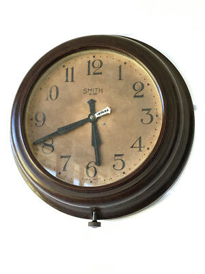 Vintage Art Deco Era English 8 Day Bakelite Wall Clock By Smith