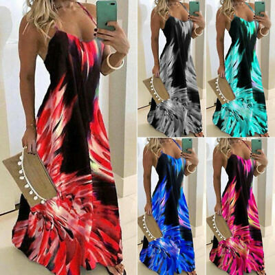 Beach Summer Women Dress Loose Plus Size Swing Prom Strap Maxi Floral Sundress