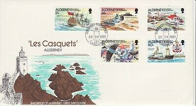 GB Stamps First Day Cover Alderney Les Casquets,Trinity House SHS Lighthouse1991