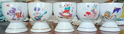 Egg cups  x 10 Animal Colourful Patterned Set of Eggcups