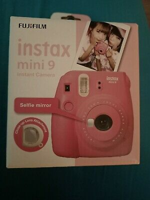 Fuji Instax Camera Mini 9 Flamingo Pink Instant Camera Fixed Lens Built-In Flash