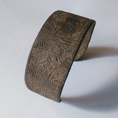Ancient Celtic Bronze Bracelet Hand Carved Runes?