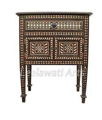 Mother of Pearl Inlay Bedside of 1 drawer 2 Door Bedside Table Brown