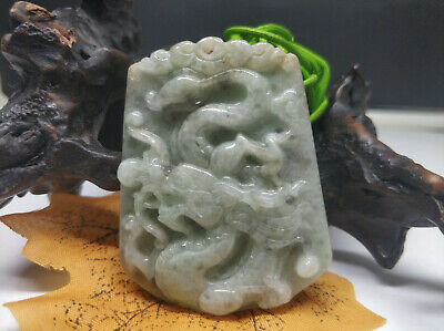 5A Delicate Chinese Hand-carved wearing Jadeite jade pendant Double-sided dragon
