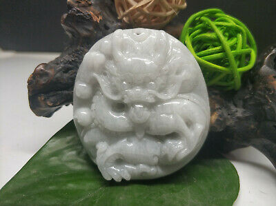 5A Chinese Hand-carved aristocratic wearing Jadeite jade pendant ancient Dragon