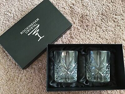 New Rockingham Crystal Cut 2 X Whiskey Glasses (Winchester)