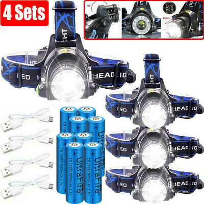 350000Lumen T6 LED Zoomable Headlamp USB Rechargeable 18650 Headlight Work Light