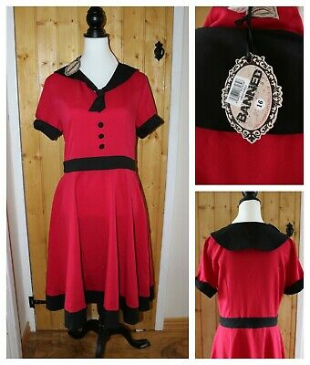 Banned Apparel Womens UK 16 Red & Black Vintage Retro Dress Pin up 50s Bnwt
