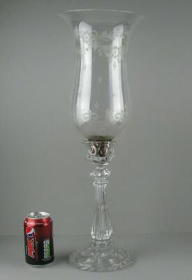"""Large Antique Victorian Etched Glass Hurricane Candle Lamp Tulip Shade 22"""""""