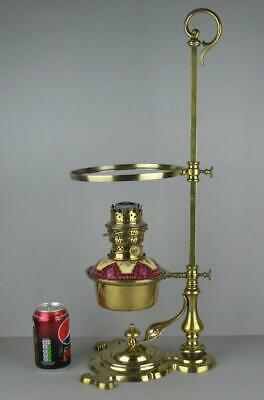 Unusual Antique Victorian Hinks Brass and Enamel Adjustable Oil Lamp with Stand