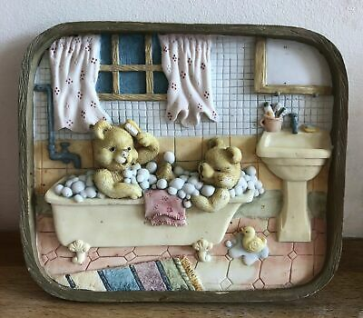 latex mould for making this cute BATHING TEDDIES PLAQUE