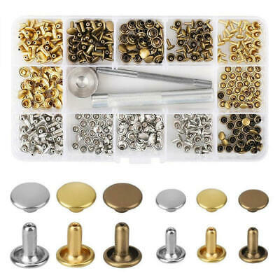 180 Set Leather Rivets Double Cap Rivet Tubular Metal Studs with Fixing Tool New