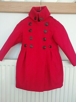 Next Girls Coat 3-4 years. Excellent condition, Red with Floral Patterned Lining