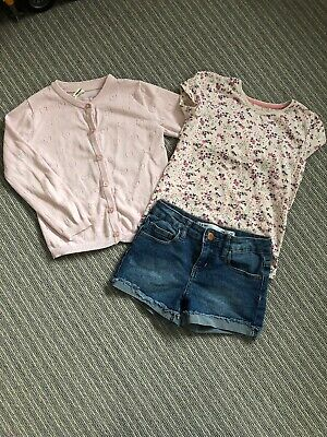 Primark Outfit, Denim Shorts, Tshirt And Pink Cardigan Age 5-6