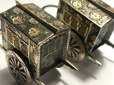 Antique Japanese Gold Plated Sterling Silver Niello Salt & Pepper Rickshaw Set