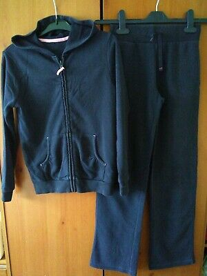 Girls George Navy Blue Age 9-10 years Hooded Zip Top And Bottoms