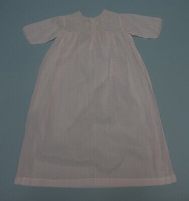 Antique Baby / Doll Christening Gown White cotton with hand Embroidery