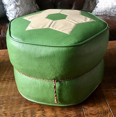 Retro Vintage Miss muffet Vinyl Leatherette Pouffe Footstool Green Cream