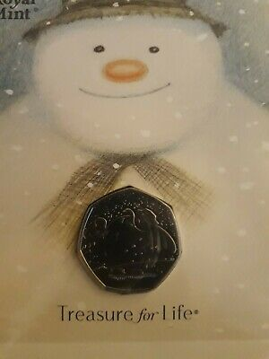 Xmas Gift The Snowman 50p BU Coin 2018 royal mint unopened presentation pack.