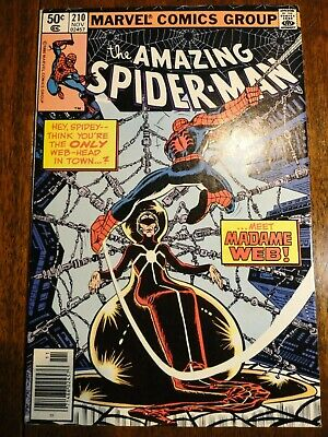 Amazing Spider-man #210 Hot Bronze Age Key Newsstand VF- 1st Madame Web Marvel