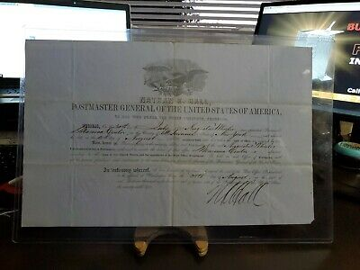 1851 Postmaster Appointment Massena Center NY Signed By Nathan Hall PM General