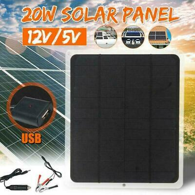 20W 12V Outdoor Car Boat Yacht Solar Panel Trickle Charger Power Battery Fa I3W8