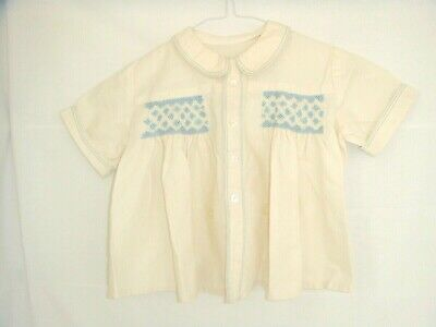 NEW CREAM HAND SMOCKED VINTAGE LITTLE BOYS SHIRT 1930/50s  PRINCE GEORGE STYLE !