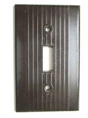 2 Pass /& Seymour Uniline Ribbed Brown Plastic 2 Gang Art Deco Wall Switch Plates