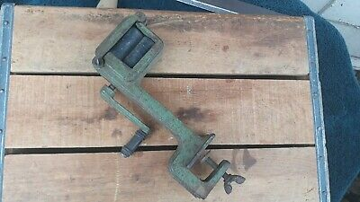 Antique Early 1900'S Pea Sheller Green Table Mount Clamp On Original Cast Iron