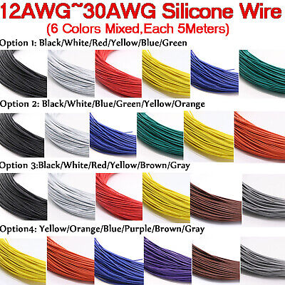 30/28/26/24/22/20/18/16/14/12 awg Silicone Cable 6 colors Mix Stranded Wire Kits