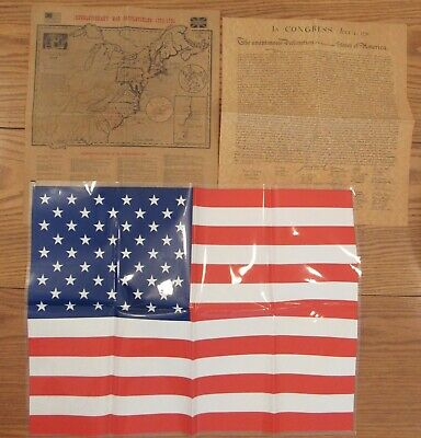 Declaration of Independence parchment,Revolutionary War Battlefields,US flag