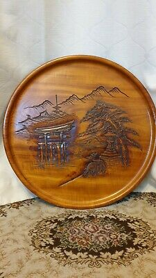 Large oriental  Carved Wooden Wall Plaque