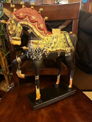 "Trojan Horse 16.5"" Chinese War Tang-Style Metal figurine Red Gold Hand Painted"