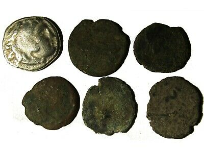 Lot Of 6 Ancient Greek And Roman Coins With Drachm Of Alexander Iii, Rare
