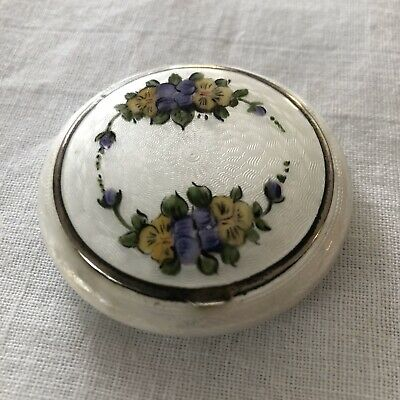 Vintage Finberg FMCO Guilloche Enamel Compact Blush Powder Combo Flowers