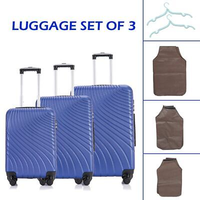 Blue Set of 3 Luggage Set Travel Bag Trolley ABS Spinner Business Suitcase