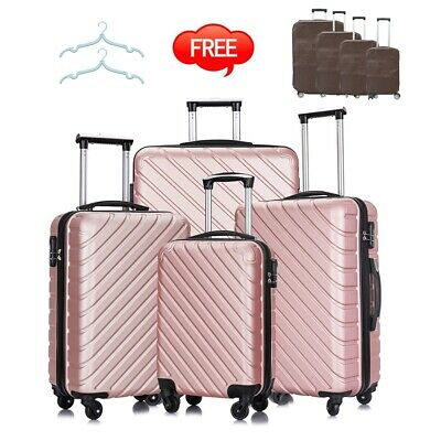 4PC Luggage Set ABS Travel Bag Trolley Spinner Business Hard Shell Suitcase Pink