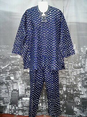 Traditional African Mens Suit - Navy & White Cotton Damask - size XL