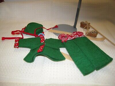 Vintage Vogue Ginny Doll Felt Ski Outfit w/ Skis one Pole Hat shoes Vogue Tag