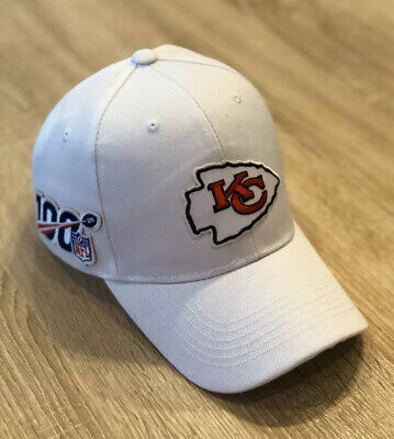 KANSAS CITY CHIEFS NFL 100 Seasons Patch Style Cap Hat 2019 Patch 100th WHITE