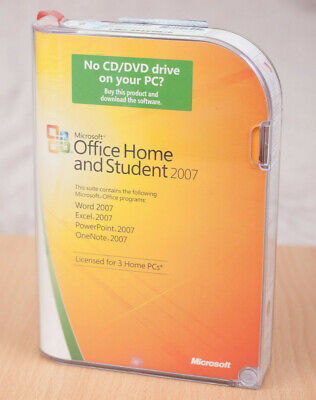 Microsoft Office Home & Student 2007 PC DVD w/ Case + Disc + Paper