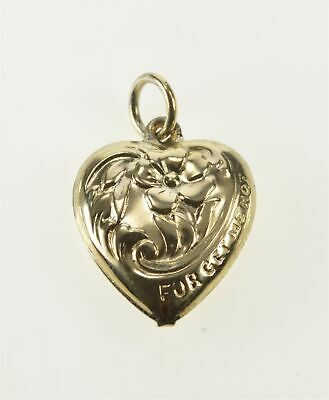 Gold Filled Puffy Forget Me Not Heart Traditional Love Charm/Pendant *82