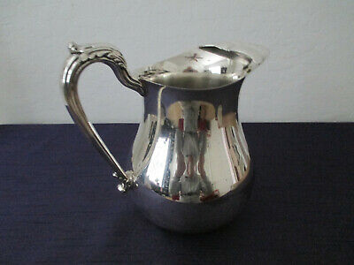 """English Silver Corp. USA Silver Plated Water Pitcher 8 1/2"""" Tall Ice LIp Vtg"""
