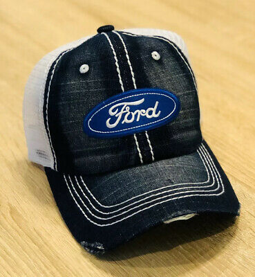FORD Hat Cap Adjustable Mesh Distressed Denim Embroidered Patch Style Racing