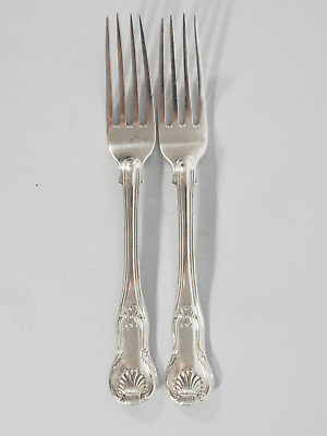 Antique Georgian 1836 Pair Sterling Silver Kings Pattern Forks Mary Chawner Set