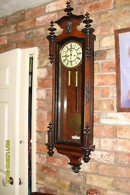 "Freiburg Wall Clock Large 50"" Vienna Striking Walnut & Beech Weights & Pendulum"