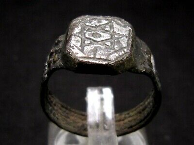 Extremely Rare, Post Medieval Period, Jewish Silver Plated Ring, *Star Of David*